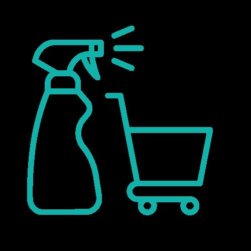 Igienizzazione carrelli e cestini
